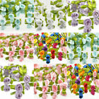 NEW 100pcs Ribbon Rose DIY Wedding Flower Satin Decor Appliques Craft Leaves