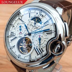 Herren-Automatik-Mechanische-Uhr-Silber-Weiss-Dial-Braun-Leder-diasteria-3109