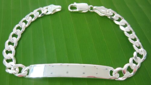 """925 Sterling Silver /""""7mm CURB/"""" ID engravable BRACELACE UNISEX MADE IN ITALY"""