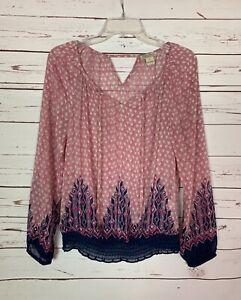 Lucky-Brand-Women-039-s-S-Small-Pink-Navy-Sheer-Long-Sleeve-Cute-Top-Blouse-Shirt