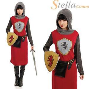 Womens Joan Of Arc Costume Lady Knight Ladies Medieval Fancy Dress