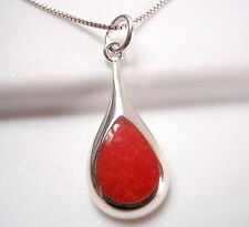 Red Coral Teardrop of Silver 925 Sterling Silver Pendant Corona Sun