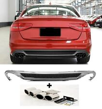 Für Audi A4 B8 8K RS4 S-Line S4 Look Stoßstange Facelift Diffusor + Endrohre #25