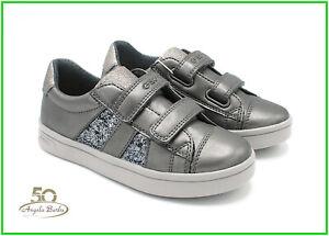 Dettagli su Geox sneakers da bambina scarpe in pelle per bimba con chiusura a strappo grigio