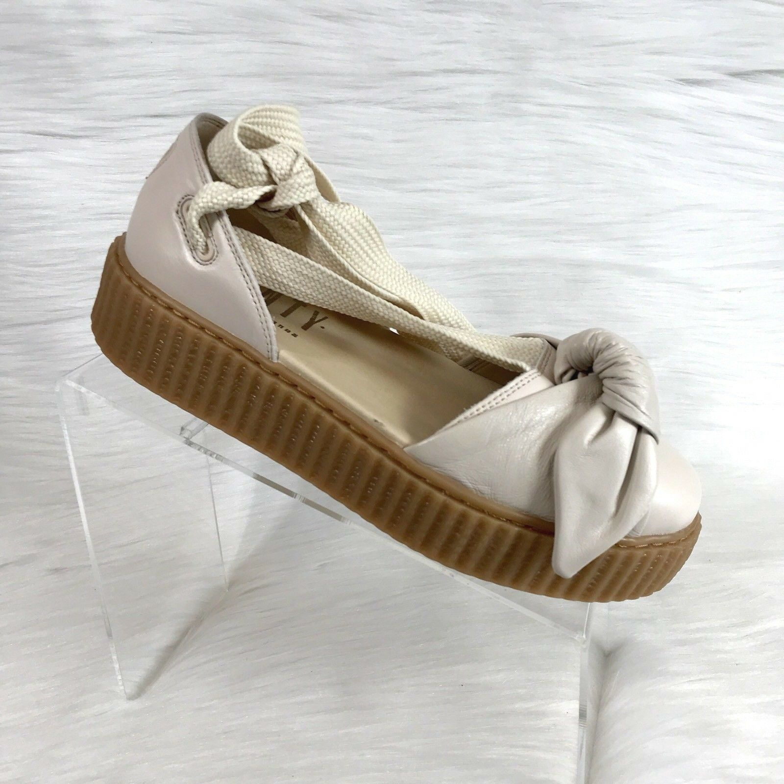 Fenty Puma X  Beige Rihanna Bow Creeper Sandales Beige  Leder Größe 8.5 New f42191