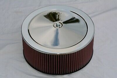 "14/"" x 2/"" Chrome Round Air Cleaner Washable Filter Street Rod Chevy Ford"