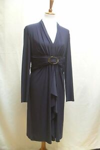 JONES-NEW-YORK-Womens-Designer-Dress-Size-14-Navy-Blue-Career-Body-Contouring