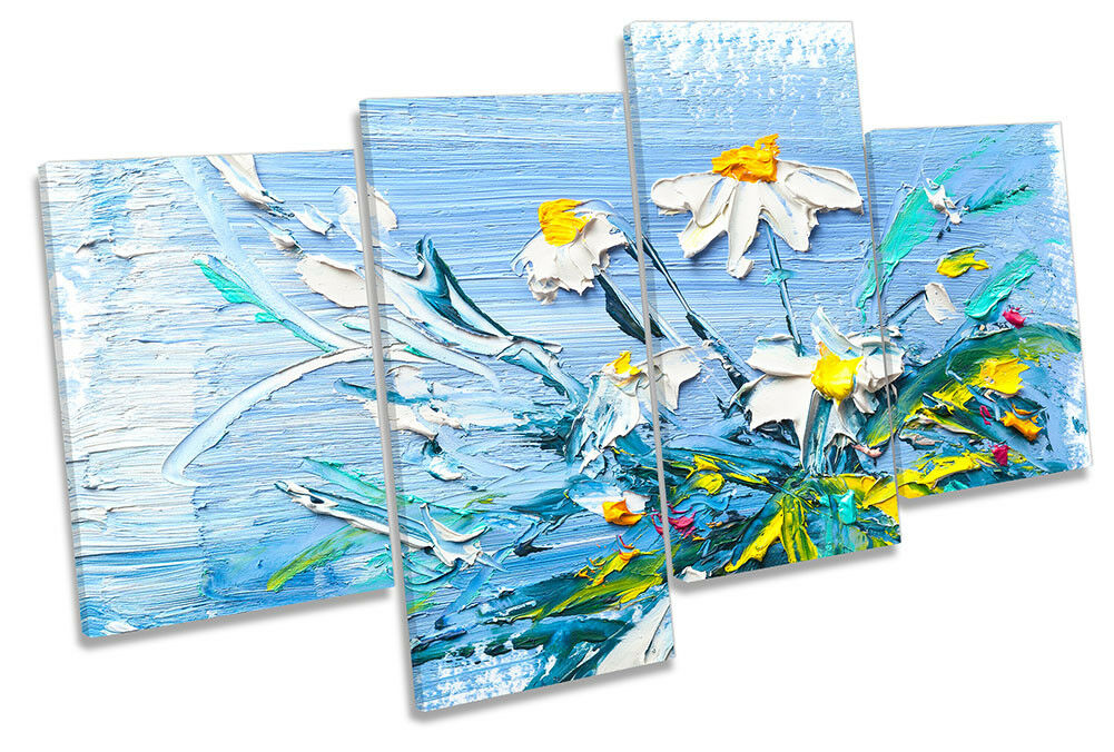 Blanco Margarita Flores obras de arte de Pared Impresión De Lona Azul Multi Impresión Pared Arte cb6d72