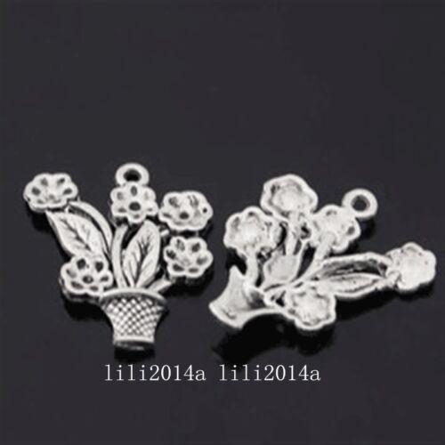 10pc Tibetan Silver Flower basket Charm Beads Pendant Findings wholesale  PL1010