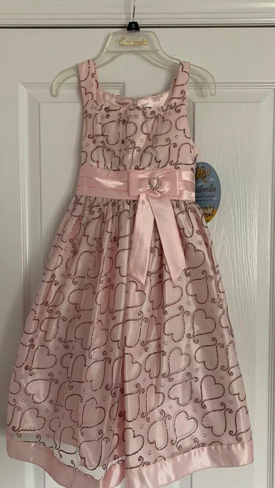 Girls Pink Heart Cinderella Brand NWT Size 8 Formal Sleeveless Bow Waist Dress.
