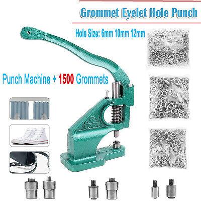Eyelet Hole Punch MachineHand Press Tool Banner Bag+3 Dies+1500 Grommets NEW