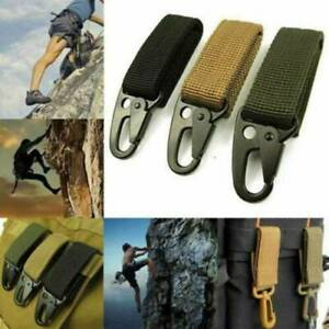 Tactical-Nylon-Key-Hook-Webbing-Buckle-Hanging-Belt-Carabiner-Clip-W-Keyring