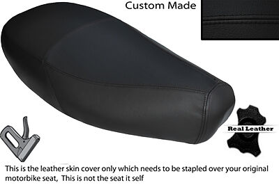 BLACK STITCH CUSTOM FITS PIAGGIO VESPA ET2 ET4 125 DUAL LEATHER SEAT COVER