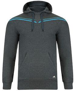 Mens-New-Adidas-Hooded-Sweatshirt-Hoodie-Hoody-Jumper-Top-Sweater-Grey