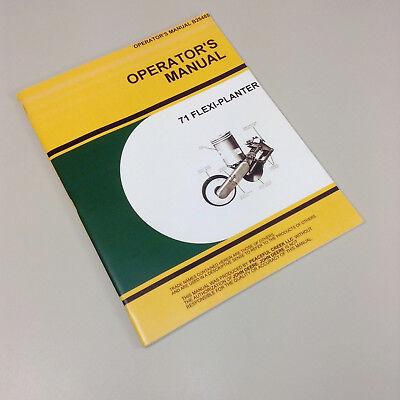 OPERATORS MANUAL FOR JOHN DEERE 71 FLEXI PLANTER OWNERS CORN BEANS EBay