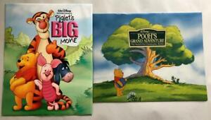 Lot of 2 Disney Lithograph Prints in Folders Piglet + Poohs Grand Adventure A+