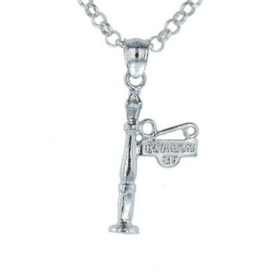 New Orleans Lamp Post Sign Bourbon Canal Street 3D .925 Sterling Silver Charm
