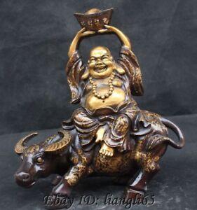 Bronze-vergoldet-Reichtum-gluecklich-lachen-Laecheln-Maitreya-Buddha-Fahrt-Bull