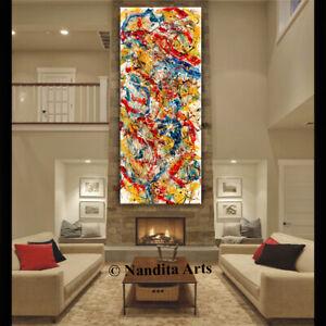 Vibrant-Red-Jackson-Pollock-Abstract-Art-Original-Painting-Made2Order-Nandita