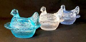 Mosser-Art-Glass-Set-Of-Three-Hen-Chicken-Salts-Made-In-USA