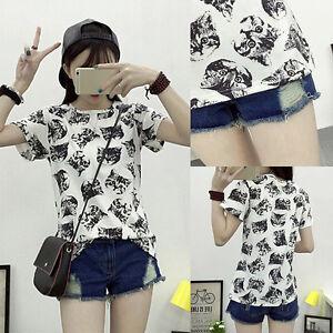 Women-Summer-Fashion-Female-T-shirt-Cartoon-Cat-Printed-Ladies-Short-Sleeve-hf