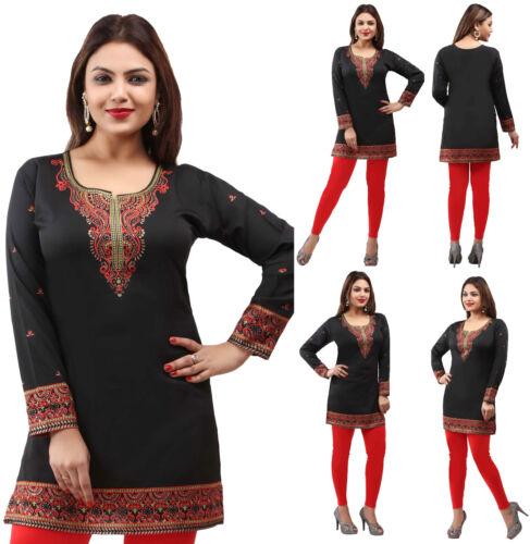 UK Stock Noir Femme Casual Indian Short Kurti Tunique Kurta Top Robe chemise 163 C