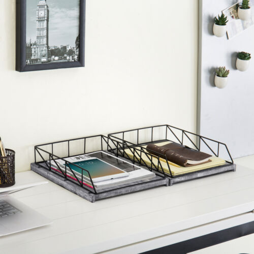 MyGift Set of 2 Vintage Gray Wood /& Black Metal Stackable Document Trays
