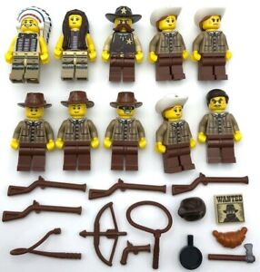 LEGO 3 NEW WESTERN COWBOY AND INDIAN MINIFIGURES RANCHER WITH GUN WEAPONS