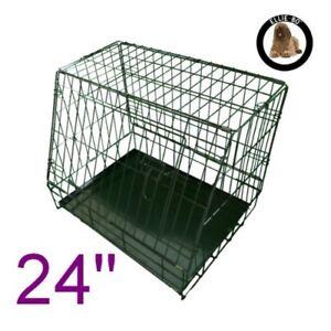 Ellie-bo Caisse pour chien pliante en cage pour chiot inclinée avec plateau en métal non mâchage