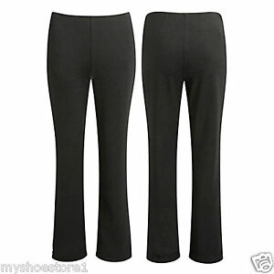 LADIES-PACK-OF-2-BOOTLEG-TROUSERS-WOMEN-STRETCH-SOFT-RIBBED-PULL-ON-BOTTOM-PANTS