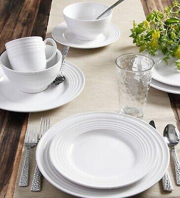Set Dinnerware 40 Pcs Dishes Plate Bowl Vintage Classic Modern Service White New