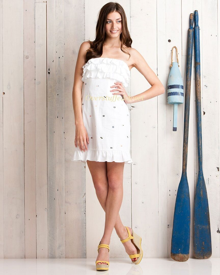Lilly Pulitzer Franco Classic Weiß With Regatta Embroidery  Dress 10