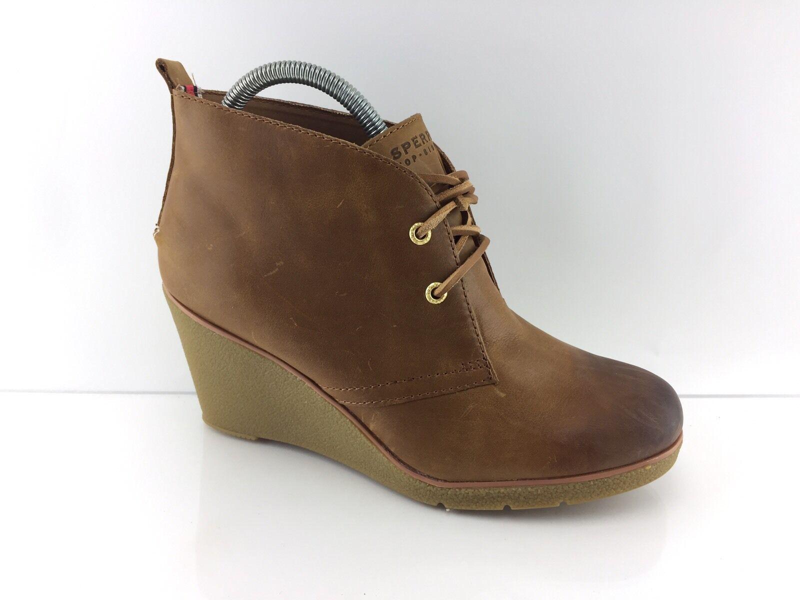 Sperry Top Sider Harlow Coñac Para mujeres Cuero Marrón botas al Tobillo Cuña 11 M
