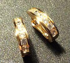 X03 Real gold fil'd horseshoe hoop earrings with Plum UK sim diamonds GFTBOXD