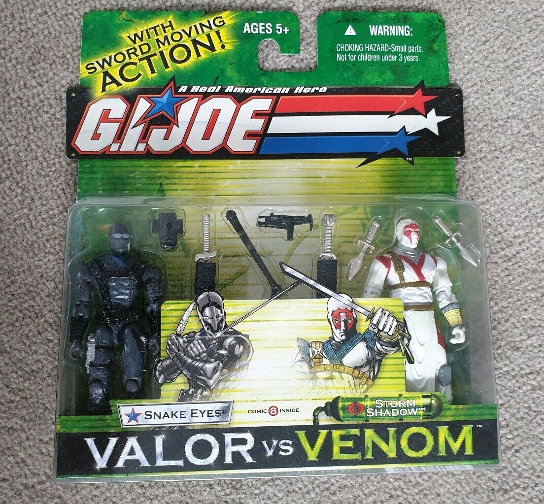 GI Joe Snake Eyes vs Storm Shadow valor vs venom figures