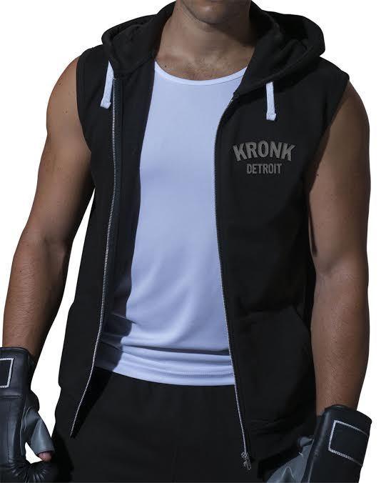 KRONK Detroit Boxing Senza Maniche Con Cerniera E Cappuccio Gilet Nero