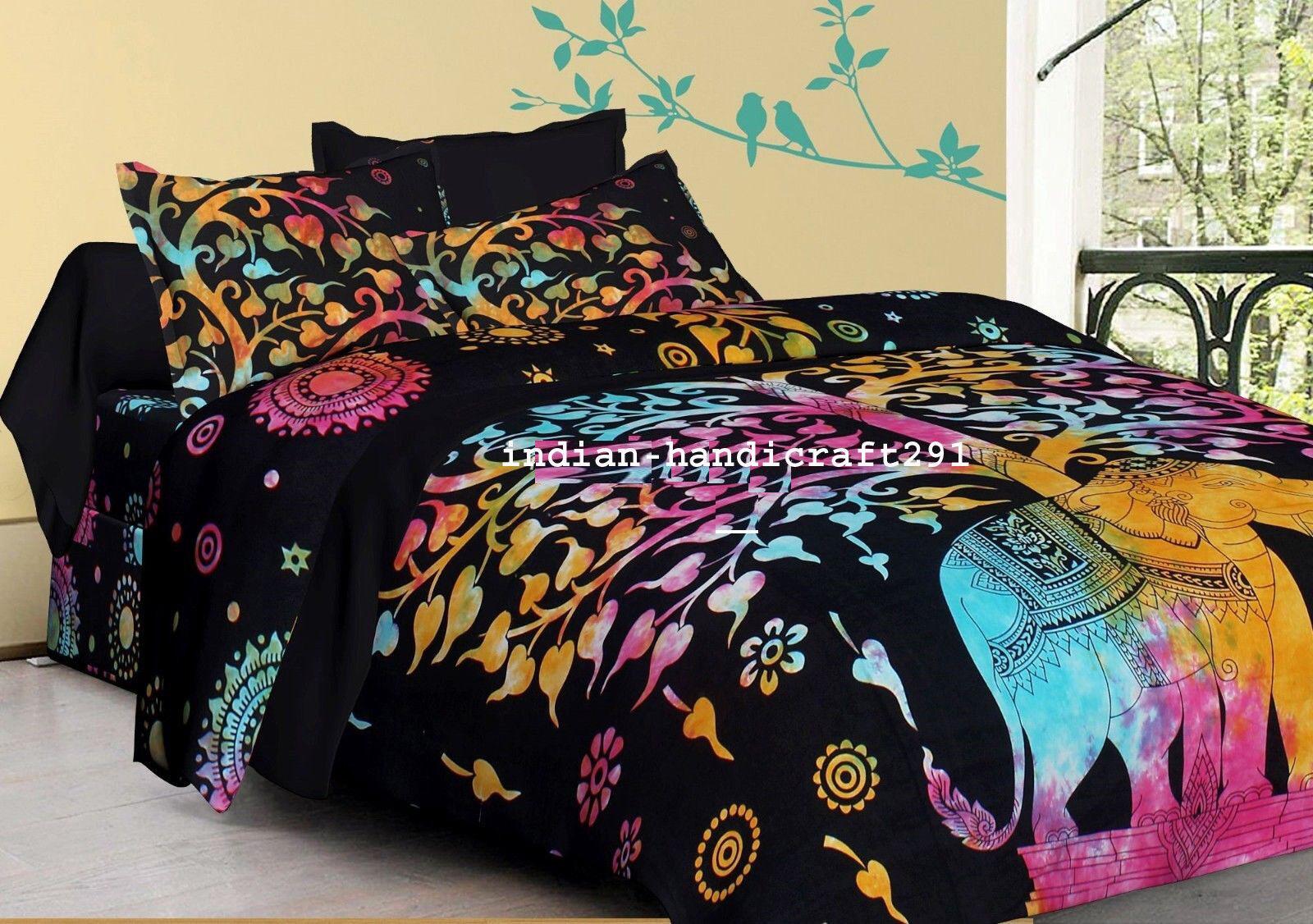 Single Double Queen Size Elephant Mandala Bedding Blanket Quilt Duvet Cover Set