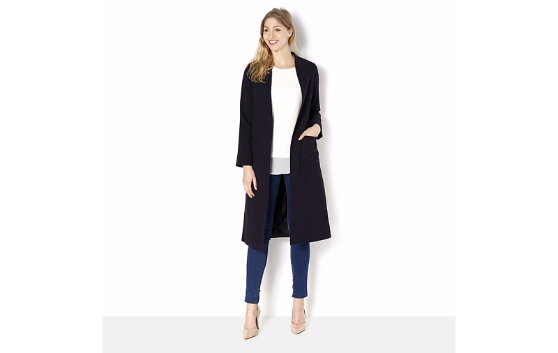 Helene Berman Edge To Edge Longline Navy Throw On Coat Coat Coat UK 20 RE077 EE 15 | Deutschland Store