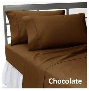 Select-Bedding-Sheet-Set-Fitted-Flat-Bed-Skirt-Egyptian-Cotton-Chocolate-Solid