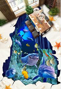 3D Tiburón Delfín Mar 75 Piso Parojo Murales Papel Parojo impresión AJ Wallpaper Reino Unido Limón