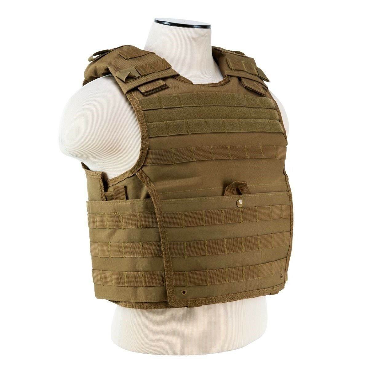 """NcStar Fast Plate Carrier Vest Tan Fits 10/""""x12/"""" Plates"""