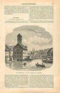 Pont-sur-Pegnitz-a-Nuremberg-Baviere-Allemagne-GRAVURE-ANTIQUE-OLD-PRINT-1860