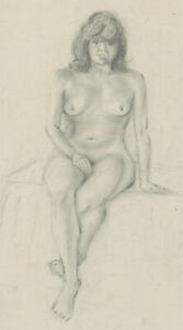 20th Century Graphite Drawing - Sitting Nude