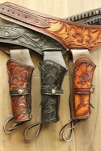 LEFT-44-45-CAL-Tooled-Holster-Gun-Belt-Drop-Loop-LEATHER-Western-RIG-SASS-34-034-52