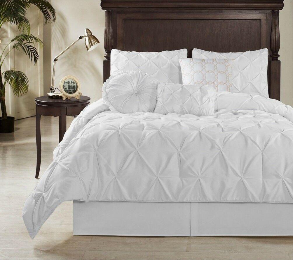 Elegant Weiß Pleated Pintuck Comforter 7 pcs Cal King Queen Set New in Bag