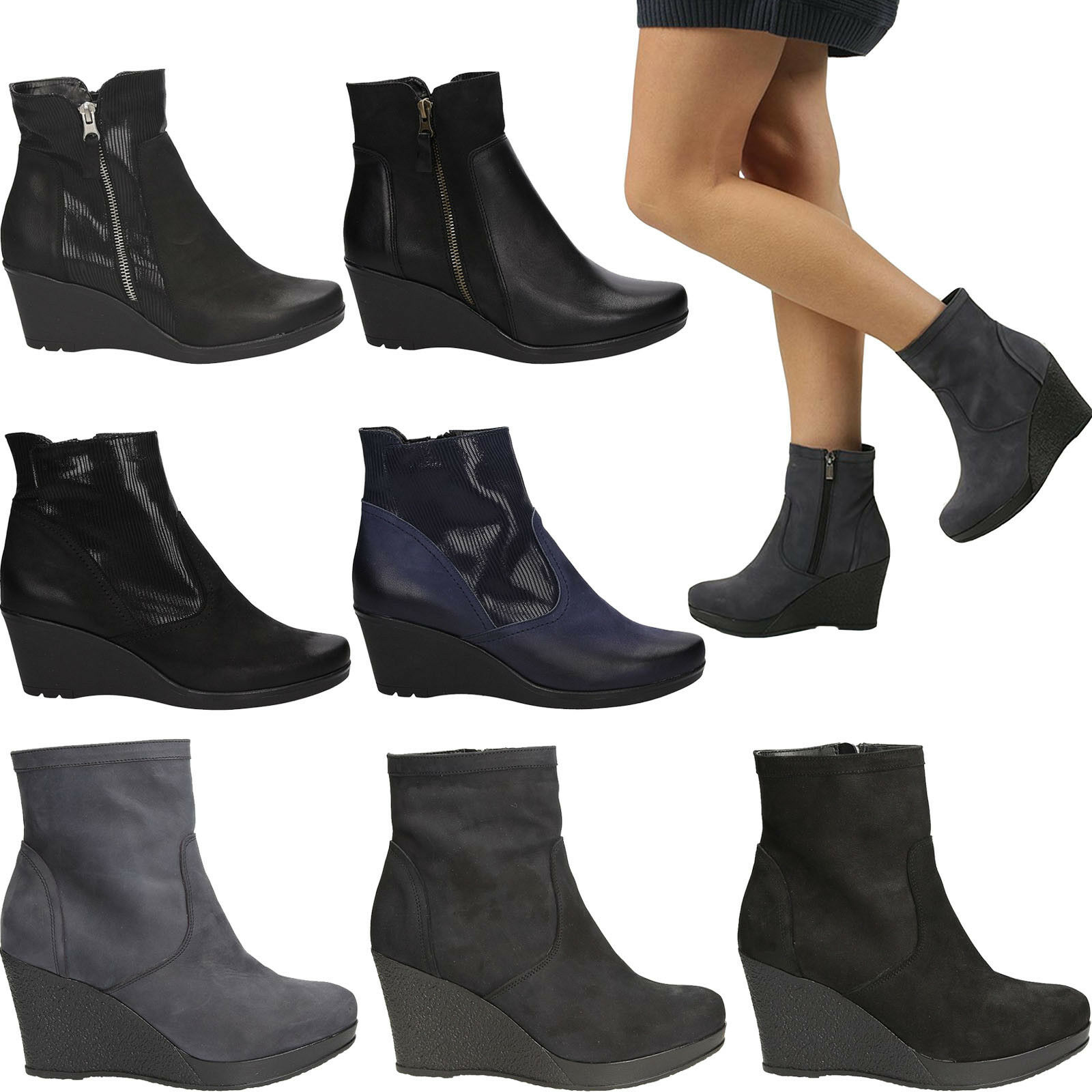 Damen Boots Stiefel Keilabsatz Echtleder Warm Winterschuhe Gr. 36-41 NEU