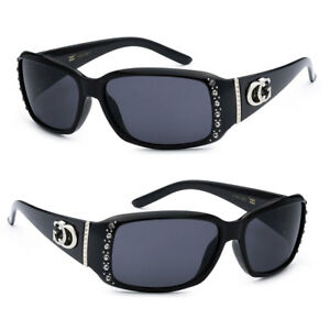 CG-Women-Rhinestones-Studded-Narrow-Rectangular-Sunglasses-UV-Protection-Black