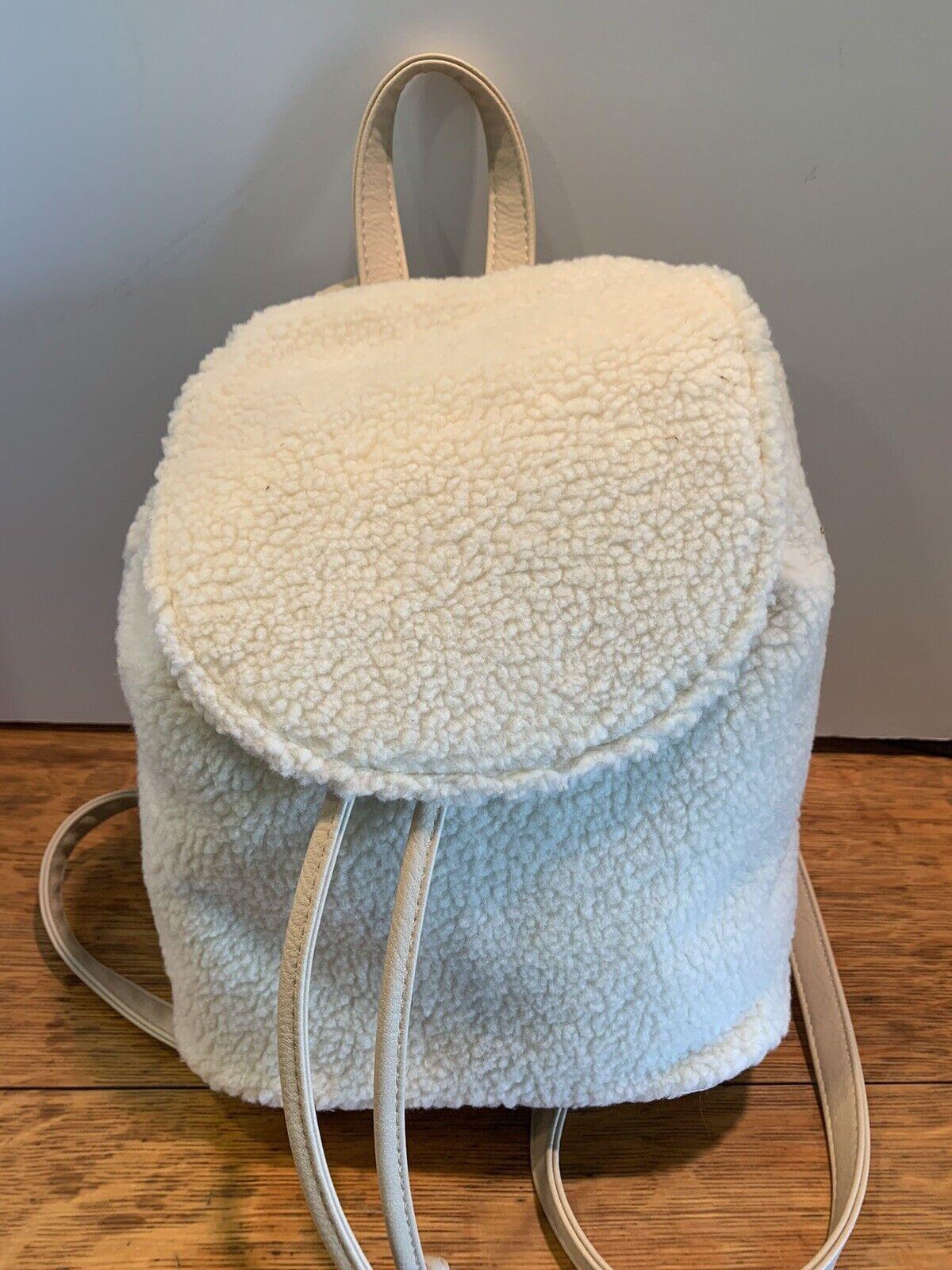 No Boundaries Shearling Mini Drawstring Backpack Purses Blush Color NEW