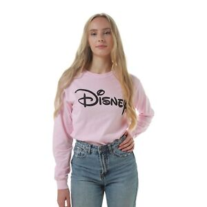 Disney-Logo-Ladies-Long-sleeved-T-shirt-Pink-Size-S-M-L-XL