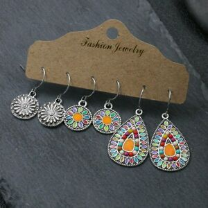 3-Pairs-Set-Retro-Ethnic-Bohemian-Earrings-Dangle-Drop-Hook-Lady-Jewelry-Gifts